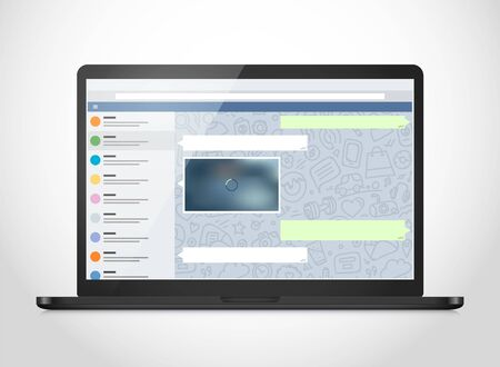 web browser: Vector notebook with messenger application on the screen. Photoreal mockup. Template for a content