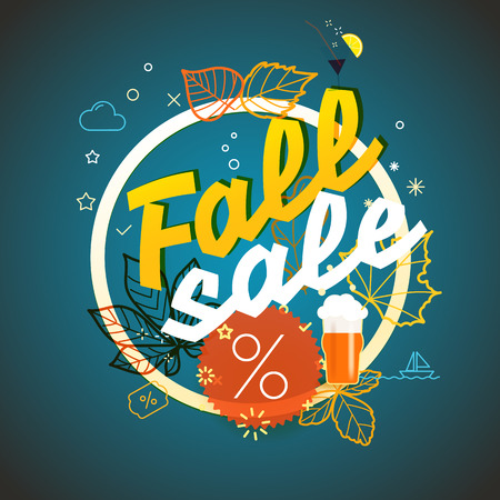 Fall sale vector illustration. Season sale concept