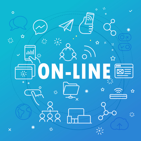 web browser: On-line concept. Different thin line icons included Illustration