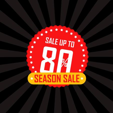advertising wobbler: Season sale banner vector illustration. Sale up to 80 percent off