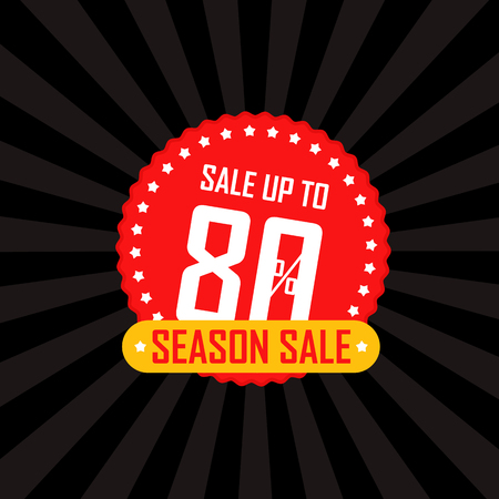 Season sale banner vector illustration. Sale up to 80 percent off