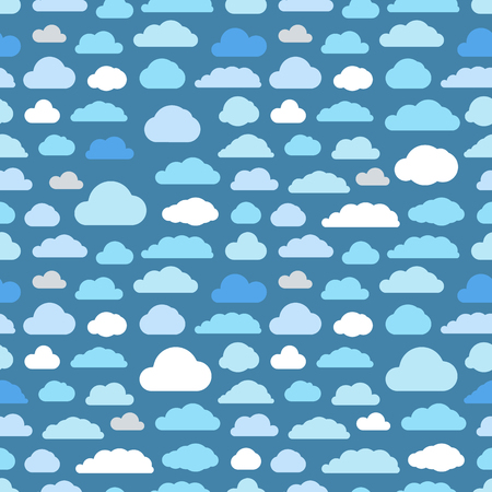 overcast: Abstract clouds seamless vector background Illustration