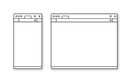 Mobile and desktop browser mockup vector set Иллюстрация
