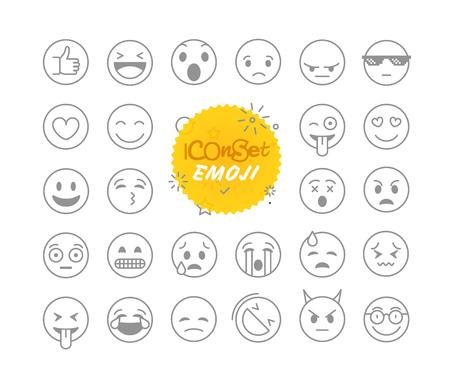 nternet: Different thin line emoji collection. Vector icon set