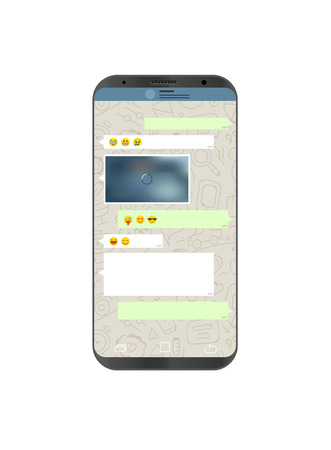 web browser: A Vector smartphone with messenger application on the screen. Social network concept.