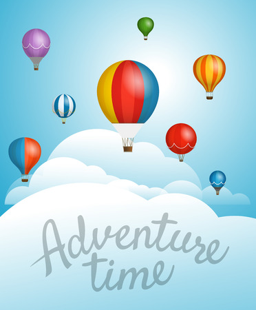 A Vector travel illustration with balloons. Template for a text. Illustration