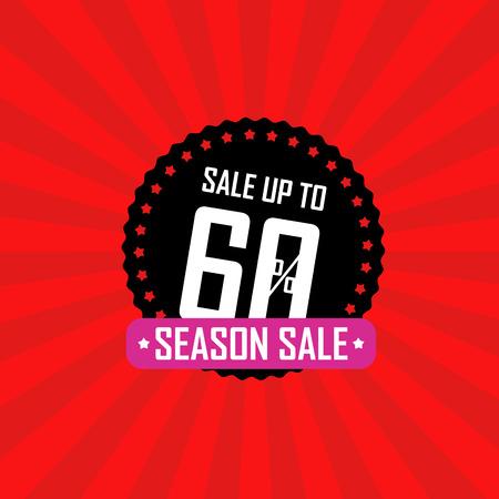 advertising wobbler: Season sale banner vector illustration. Sale up to 60 percent off Illustration