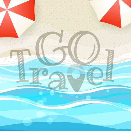 Summer seaside vacation illustration. Summer vacation concept Illustration