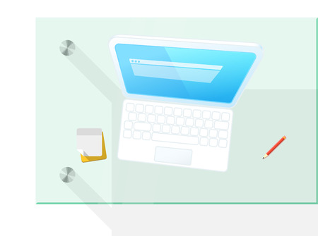 web browser: Modern computer on the table vector illustration