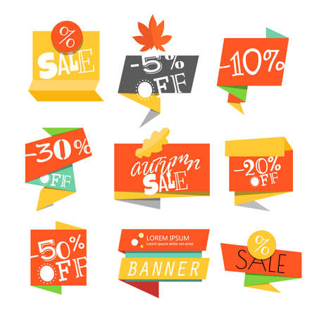 Sale vector banners. Sale banners template. Different paper sale banners