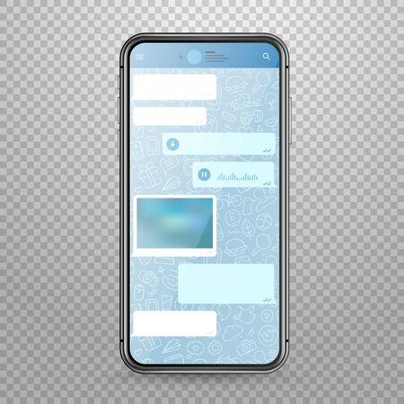 transparence: Modern tablet smartphone vector mockup with messenger application template