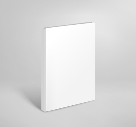 3d blank thin book vector mockup. Paper book template Illustration