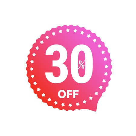 Sale banner vector label isolated on white. 30 percent off sticker