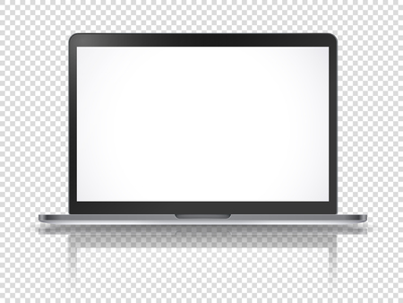 Modern laptop vector mockup with reflection isolated on transparent background Illusztráció