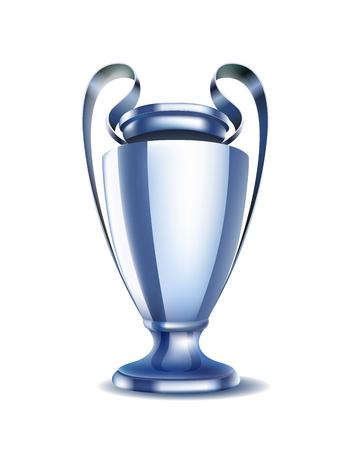 Glänzende silberne Cupvektorabbildung. Siegerpokal des Sportwettbewerbs Vektorgrafik
