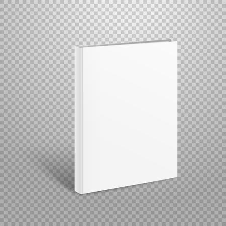 Maquette de vecteur livre mince blanc. Livre de papier isolé sur transparent