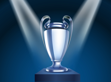 Shining silver cup vector on a stage. Vector illustration