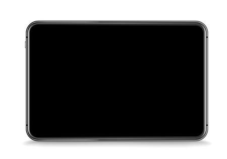 Modern tablet device vector mockup isolated on white. Place any content into the screen