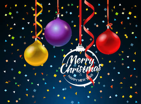 Merry Christmas greeting card with color baubles