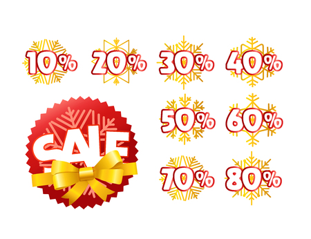 Different color season shopping tags vector clipart. Christmas sale and discount
