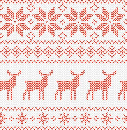 Christmas Seamless Pattern. Nordic style vector ornament