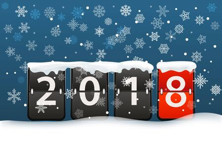 Happy new 2018 greeting card template