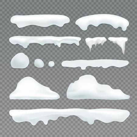 벡터 icicles 및 snowcap 요소를 투명 배경입니다. 눈 효과 벡터 컬렉션