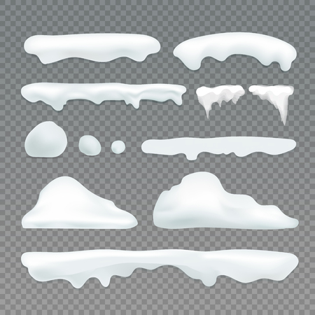 Vector icicles and snowcap elements on transparent background. Snow effects vector collection Standard-Bild - 92132509