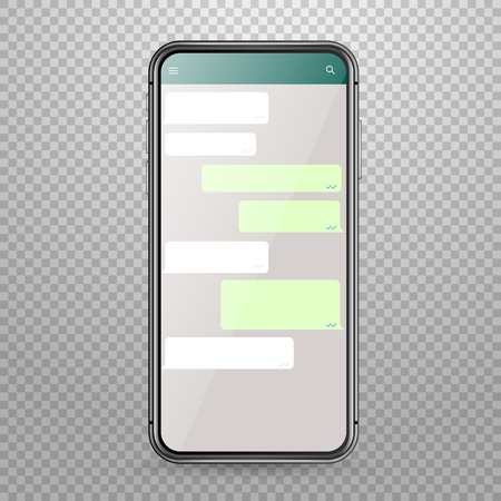 Modern smartphone vector mockup with messenger application template. Discussion template Ilustração