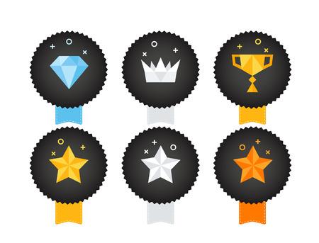 Zestaw ikon różnych trofeum na białym tle. Ilustracji wektorowych