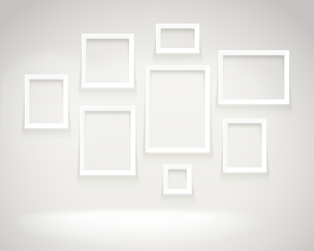 Photoreal bright gallery with picture frames. Presentation vector template