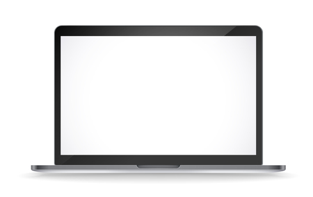 Modern laptop vector mockup isolated on white background. White screen