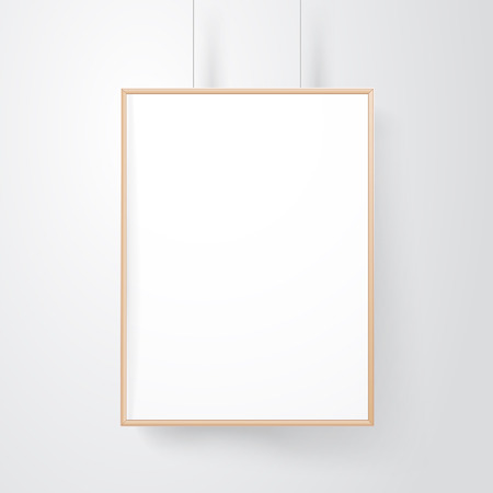 Blank wood frame on the wall vector mockup Çizim