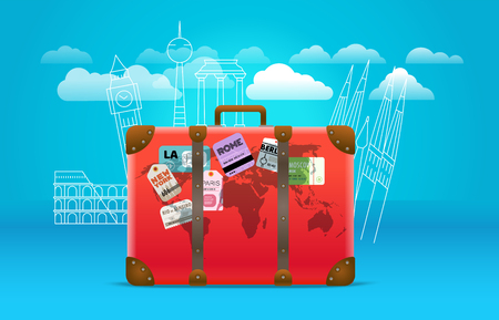 Travel bag with stickers and sights concept. Vacation design template