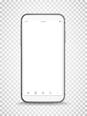 Modern frame less smartphone with open window vector mock-up.