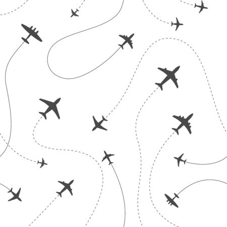 Different airplanes paths vector illustration