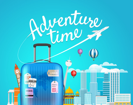 Adventure time. Vector travel illustration with the luggage bag ad buildings