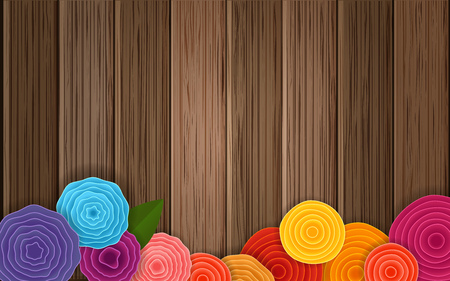 Spring flower background. Vector poster. Abstract flowers on brown background