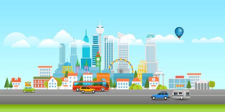 Modern cityscape vector illustration. Vector panorama Illustration