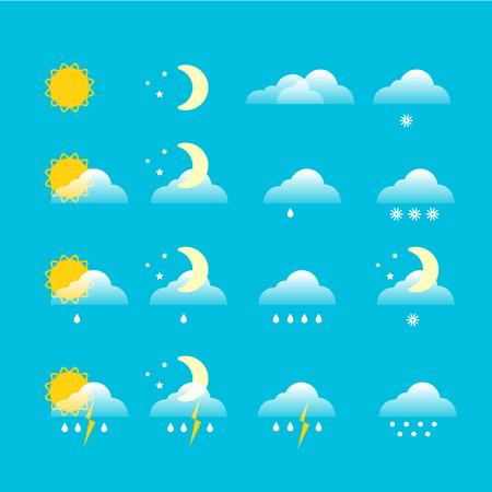 Forecast weather icons  set Vector illustration.