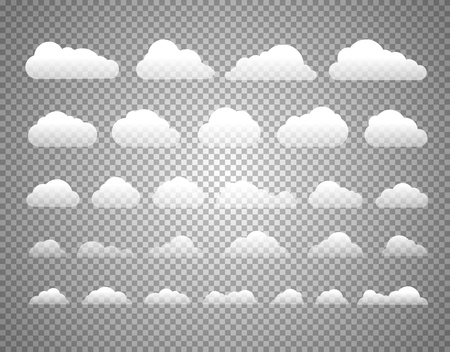 Different clouds isolated on transparent background. Layered and detailed illustration