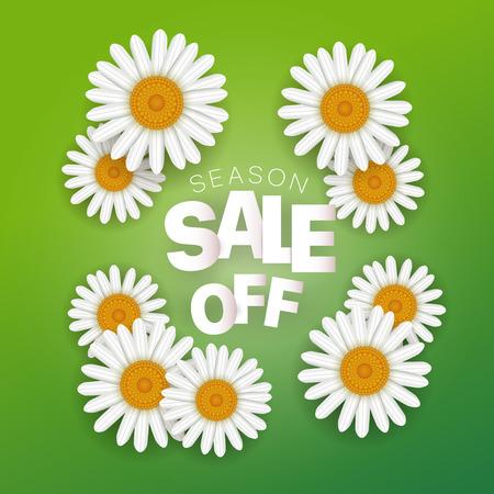 Season sale offer. Season sale vector banner with white chamomile. Square composition