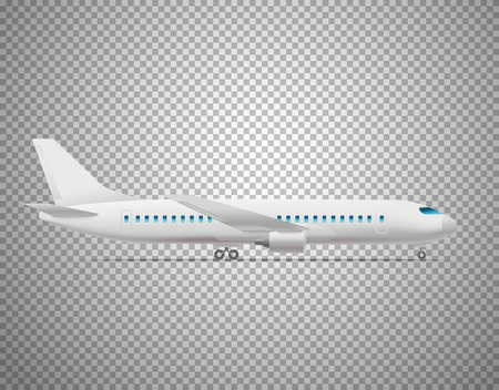 Modern aircraft isolated on transparent background. Layered illustration