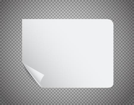 White paper sheet on transparent background vector illustration Ilustração