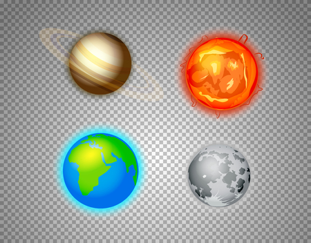 Different sun system elements vector set isolated on transparent