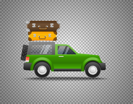Green car with baggage isolated on transparent background. Layered and detailed illustration.
