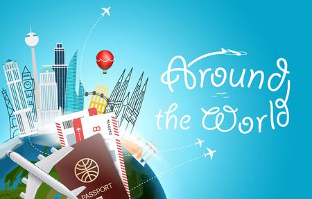 Around the world concept. Travel destination vector illustration
