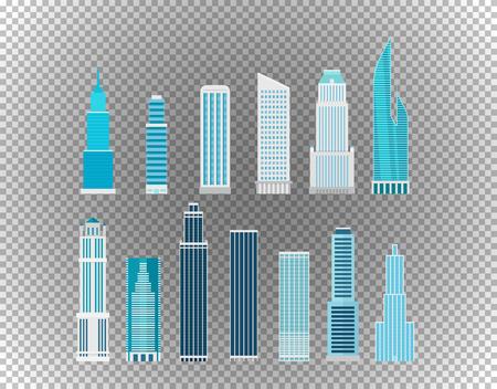 Different city skyscrapers isolated on transparent background. Layered illustration