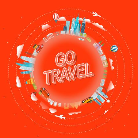 Go travel concept. Travel around the world vector illustration Иллюстрация