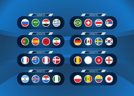 Football tournament scheme. Football infographic template with flags Ilustração